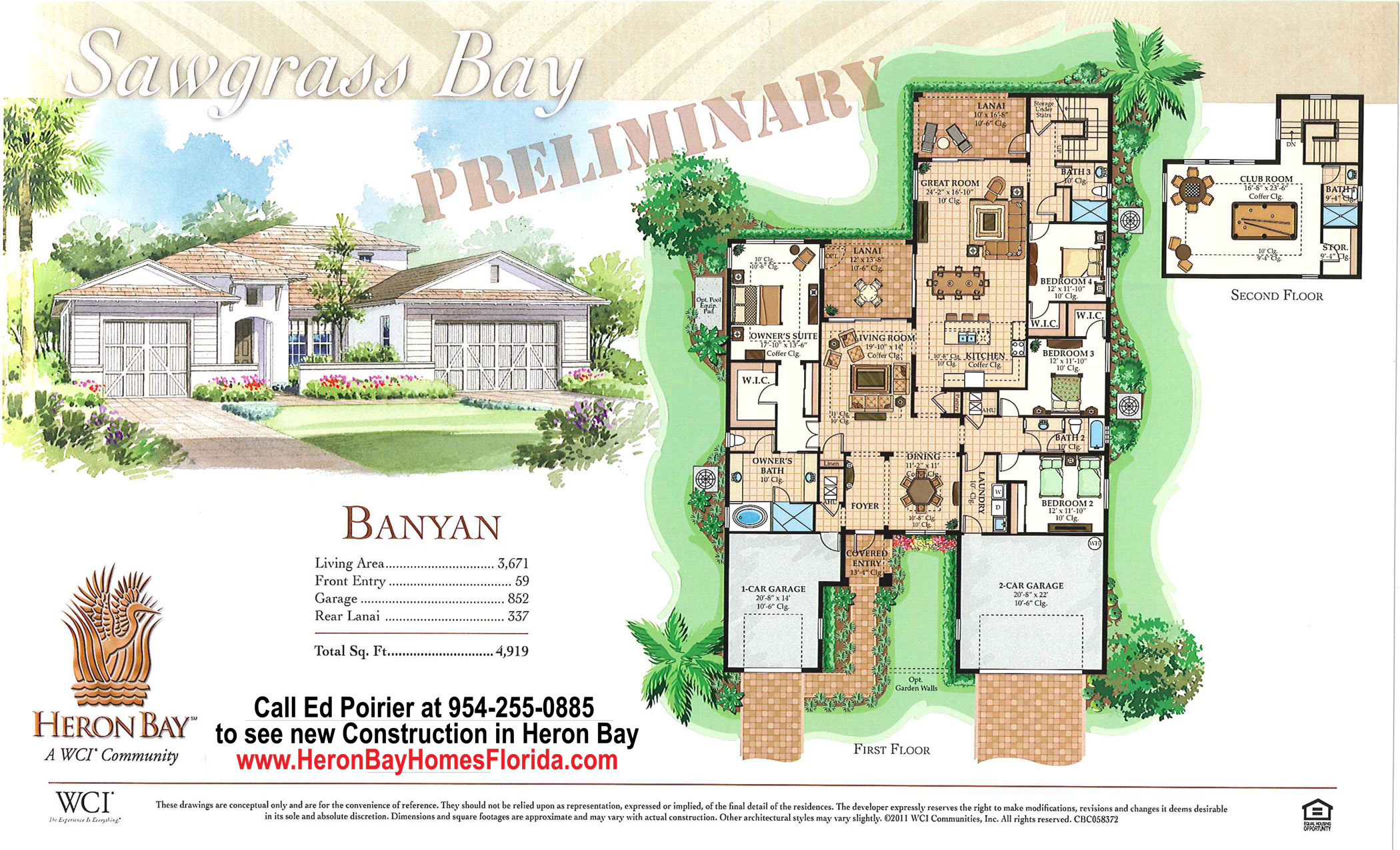 Heron bay new construction banyan model floor plan and prices for Parkland plan