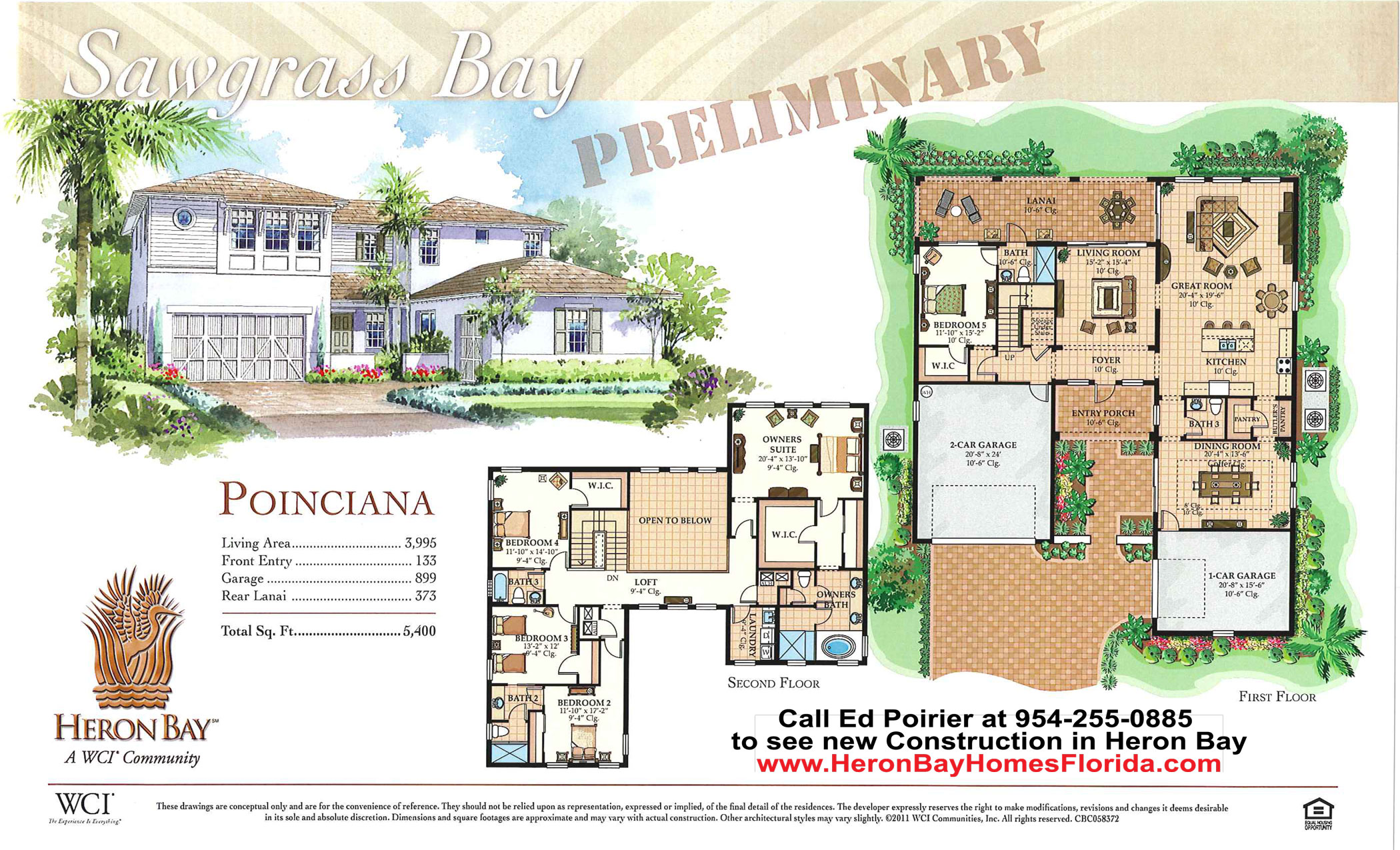 Poinciana model floor plan for new construction in heron for Parkland plan